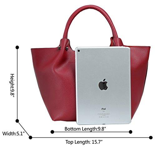 Brown Shoulder Purse Fashion Bag Tote Top Women Bag Iswee Handle Dumpling Handbag Leather qpO7R