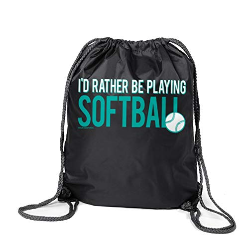 ChalkTalkSPORTS Softball Sport Pack Cinch Sack | I'd Rather Be Playing Softball | Black ()
