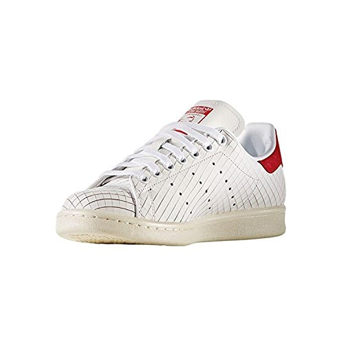 adidas S32258 Women's Originals Stan Smith Leather Sneakers, White/White/Collegiate Red, 6 M US