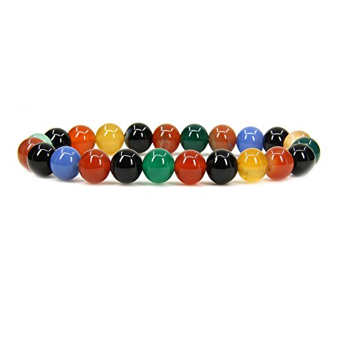Multi Crystal Agate Color - Natural Multicolor Agate Gemstone 8mm Round Beads Stretch Bracelet 7
