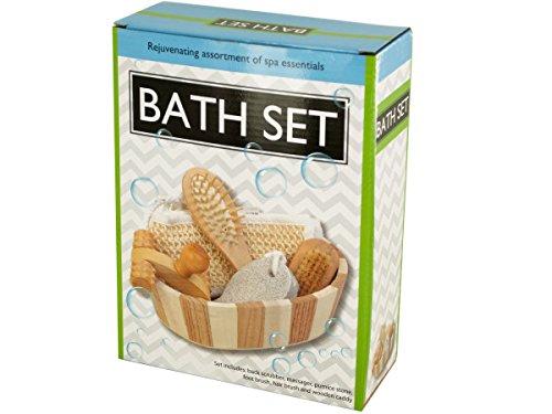 bulk buys OF478 Essential Bath Set in Wooden Basket, Brown/Grey/White/Beige