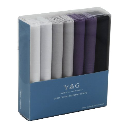 YEC0207 White Grey Navy Blue Purple Soild 7 Piece In Present Box MenS Pocket Squares By Y&G