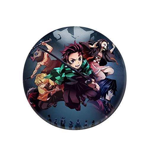 Raleighsee Demon Slayer: Kimetsu no Yaib Anime Around Cartoon Round Tinplate Badge Collectible Brooch Bag Novelty Anime Accessory Anime Fans Gift(H06)