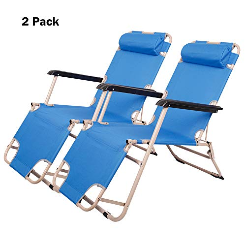 (Lucky Tree 2 Pack Patio Lounge Chair and Flat Folding Cot Outdoor Camping Reclining Chairs for Beach Lawn, 60