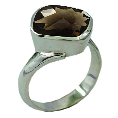 Gemsonclick Choose Your Gemstones Color Natural Oval Shape Silver Rings for Mens Chakra Healing Birthstone Size 5-12 (Smoky Quartz Faceted Ring Oval)