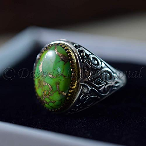 Natural Green Copper Turquoise Rings 925 Sterling Silver Jewelry Oxidize Arabic Rings Natural Green Copper Turquoise Man's Rings Handmade Rings Wedding Jewelry (Copper Turquoise Ring)