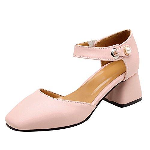 Carolbar Women's Fashion Solid Color Beaded Mid Heel Velcro Court Shoes Pink F6UyL1Sr