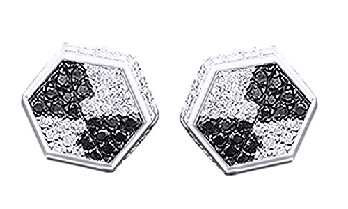 14K White Gold Over Sterling Silver Round Cut Diamond Hip Hop Stud Earrings (0.40 Cttw) by wishrocks