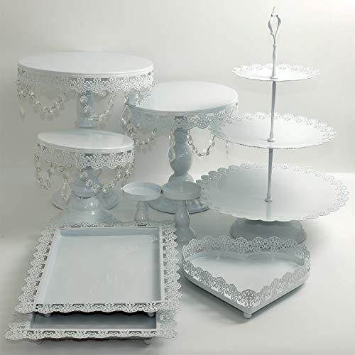 (Proshopping 9 Set Antique Metal Cake Stand, Classical Round Cupcake Holder, Cake Plate Tray, Cookie Pedestal Display Tower, for Wedding Birthday Party, with Crystals Pendants and Beads, White)
