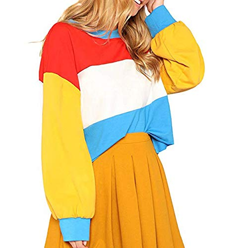 ANJUNIE Women Casual Cut Sew Oversized Sweatshirt Color Block Striped Long Sleeve Crop Top(Multicolor,S) -
