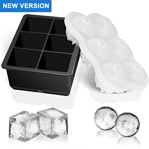 (SMARTAKE Ice Cube Trays - Set of 2, Easy Release Durable Silicone Sphere Ice Ball Maker & Large Square Ice Cube Molds with Funnel for Whiskey, Cocktail and Drinks in Bar, Home, Black & Transparent)