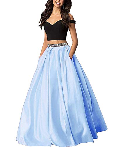 Sophie Women's Off The Shoulder 2 Piece Beaded Prom Dresses 2019 Satin Long Evening Gowns Formal with Pockets Sky Blue Size 2