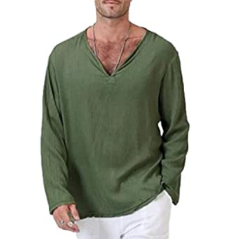 Howely Men Hipster Hip Hop T-Shirt Muscle Casual Tops Loose Fit Blouse Shirts Army Green 2XL