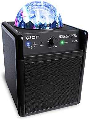 ION Audio Party Power Portable Bluetooth Speaker System with Built-In  Rechargeable Battery and Music Synchronised Light Display