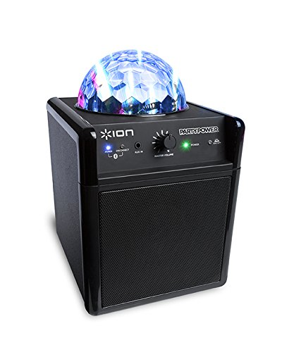 ION Audio Party Power | Portable Bluetooth Speaker System with Party Lights, Rechargeable Battery, and Auxiliary Input (10W)