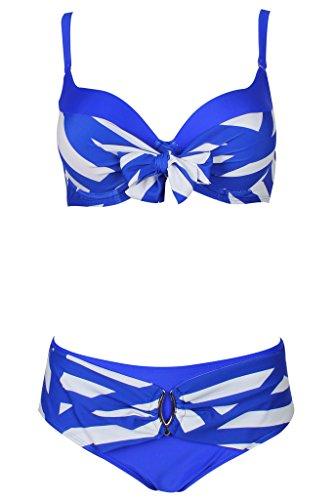Abary Women Striped 2-Piece Bathing Suit Bowknot Bikini M-4XL