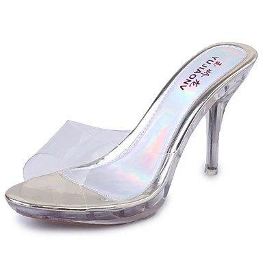 EU39 Tacones CN39 De Verano US8 Casual Stiletto Talón UK6 Zapatos La Mujer Polipiel Parte Por Toe Sandalias Blanco Hollow RTRY amp;Amp; Peep Noche Out 1wXgqf