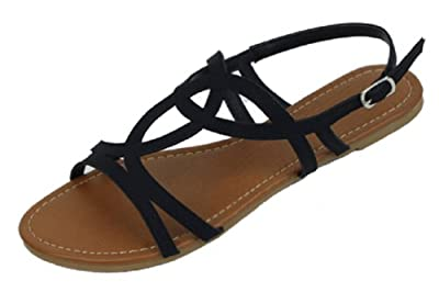 Shoes8teen Shoes 18 Womens Strappy Roman Gladiator Sandals Flats Thongs Shoes