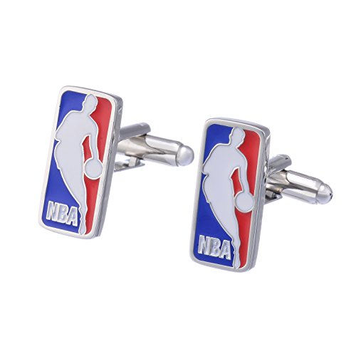 Promotioneer Mens NBA Basketball Logo Symbol Fashion Shirt Cufflinks