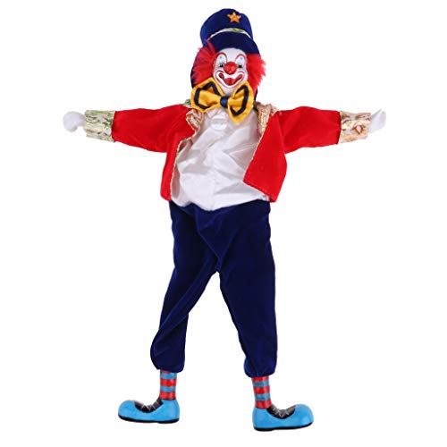 Prettyia 41cm Funny Clown Man Wearing High-grade Shiny Silk Brocade Clothes Figure Doll Toy Halloween Party Decoration #2