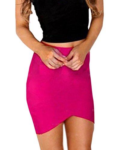 Jupes de Club Sexy Mini Femmes Rouge Mode Monika de Rose Fte Jupe t Irrgulier Hanche Package Moulante Bal Soire p70xRwq
