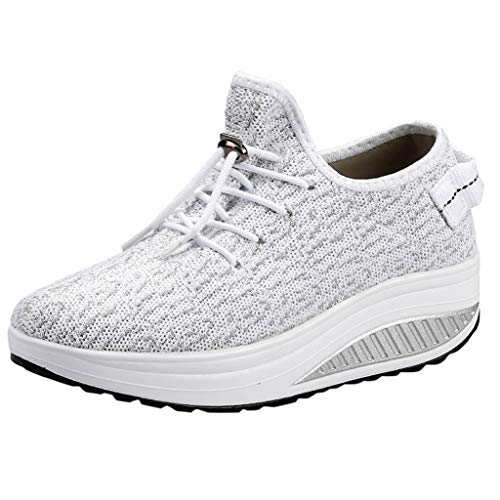 Bralonees Women Canvas Wedges Sneakers Shake Shoes Breathable Outdoor Non-Slip Sports Trainers Shock Walking Lightweight White -