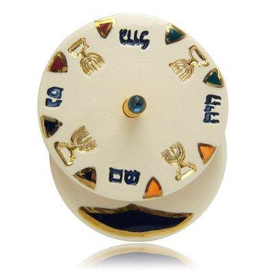 Hanukkah Chanukkah Dreidel Ceramic Colorful Unique Design Gold Plated Handle, Spinning Top. Hand Made By The Renown Artist Eran grebler Size: 3.0'' x 2.5''