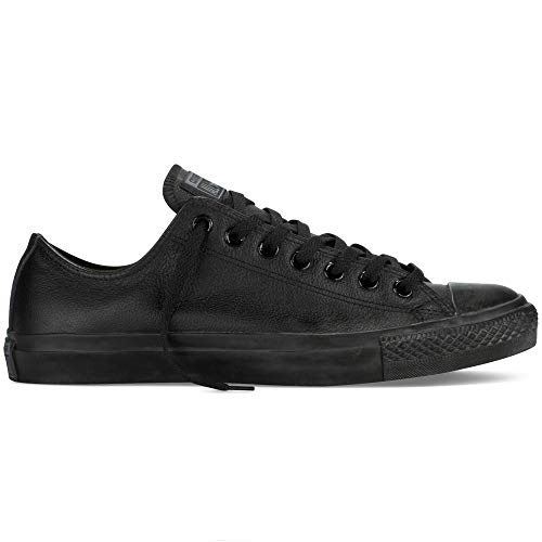 Converse Chuck Taylor All Star Leather Low Top Sneaker, Black Mono, 10 M US