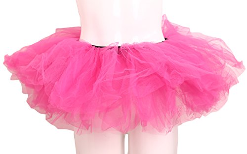 - ELLITE Women's Multilayer Organza Tutu Party Dress Tulle Pettiskirt Hot Pink