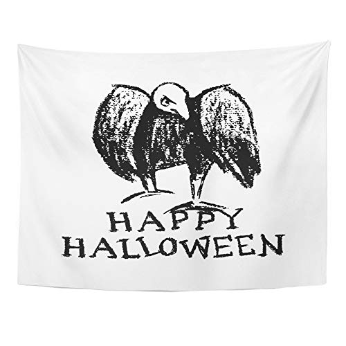 Emvency Tapestry Polyester Fabric Print Home Decor Halloween of Creepy and Comic Vulture Charcoal Drawing Beautiful Design Wall Hanging Tapestry for Living Room Bedroom Dorm 60x80 Inches -