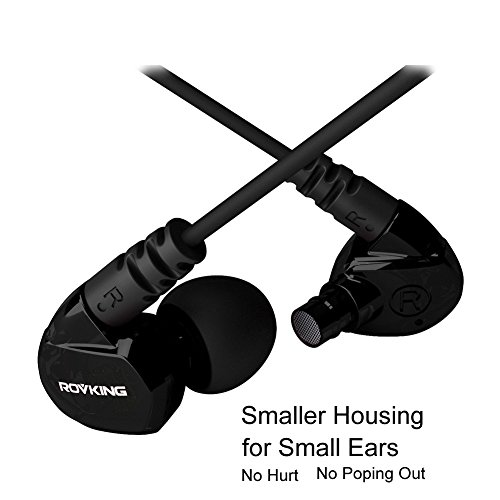 ROVKING Over Ear In Ear Noise Isolating Sweatproof Sport Headphones Earbuds Earphones with Remote and Mic Earhook Wired Stereo Workout Earpods for Run