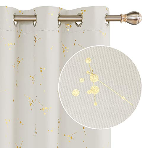 Deconovo Blackout Curtain Foil Printed Constellation Pattern Curtains Grommet Light Blocking Window Drapes for Living Room 2 Panels