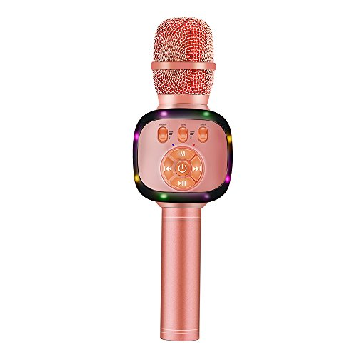 less Bluetooth Karaoke Microphone with Dual Sing, LED Lights, Portable Handheld Mic Speaker Machine Christmas Gift for iPhone/Android/PC/Outdoor/Birthday/Home/Party (Rose Gold) ()
