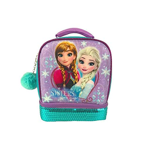 Disney Frozen Queen Elsa and Anna Sisters are Magic Insulated Sequin Lunchbox Lunch Bag Tote for Back to School with Bonus Key Chain