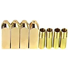 4PCS Gold Rectangular Metal Aglets Shoe Laces Tips DIY Screw On Replacement
