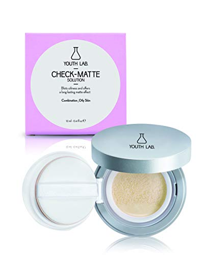YOUTH LAB Check Matte Compact Case Solution for Combination or Oily Skin- Translucent Matte Finish Face Foundation Primer with Sponge - Oil Control Liquid to Powder Makeup Base for Flawless Skin