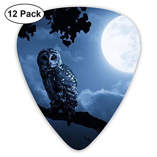 Owl Illuminated by Full Moon On Halloween Night Bendy Ultra Thin 0.46 Med 0.73 Thick 0.96mm 4 Pieces Each Base Prime Plastic Jazz Mandolin Bass Ukelele Guitar Pick Plectrum Display]()