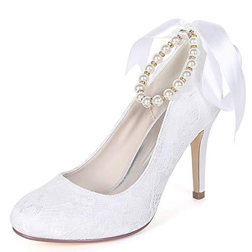 White La yc Tarde Fy562 Y Fiesta 9cm Chunky Mujeres Las De talones Gatito Redonda L Punta Zapatos Perla Boda UApAx