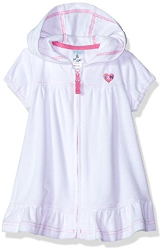 Kiko & Max Little Girls' Terry Swim Cover up, White, 4T