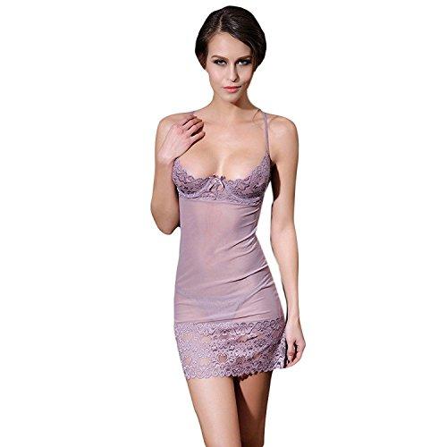Euone Women Sexy Lingerie Chest A File Open Underwear (Gray)