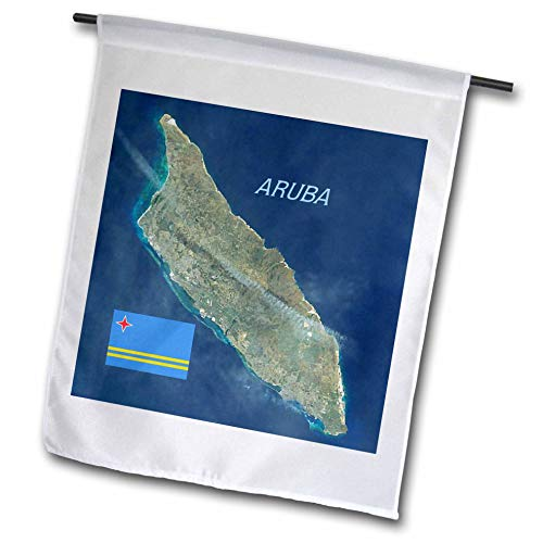 3dRose Lens Art by Florene - Topo Maps and Flags - Image of Aerial Topo View with Flag of Aruba - 12 x 18 inch Garden Flag (fl_306862_1)