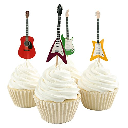 Price comparison product image Betop House Set of 24 Pieces Guitar Themed Decorative Cupcake Topper for Music Party