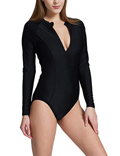 Baleaf Women's Long Sleeve One Piece Sun Protection Rash Guard Rashguard UPF 50+ Wetsuit Swimsuit Black XL