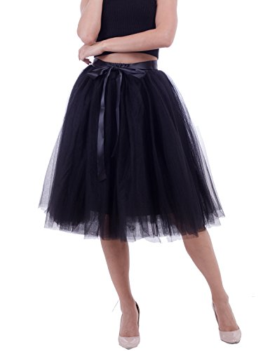 Women's Solid A Line Midi/Knee Length Tutu Skirt 6 Layered Pleated Tulle Petticoat Dance Tutu(Black) -