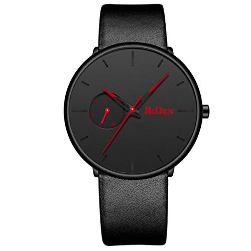 Mens Watches Ultra Thin Minimalist Waterproof Wrist Watch Luxury Business Fashion Casual Simple Dress Classic Analogue Quartz Watches – Black Red Leather