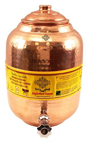 Villa Pot - Indian Art Villa Copper Water Pot Tank Dispenser|Storage Water|Benefit Yoga Ayurveda|Volume 236 OZ