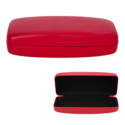 Large Glasses Case, Hard Shell For Over-sized Sunglasses and Eyeglasses, Durable Smooth & Glossy Finish With Protective Lining -Red- By - Eyeglasses Durable
