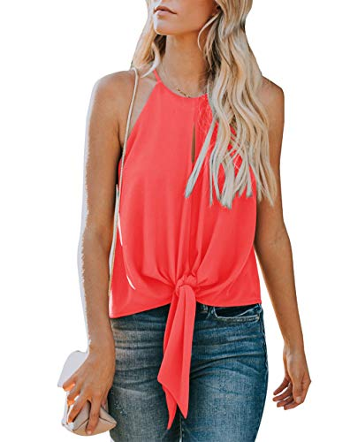 Topstype Women's Summer Sleeveless Crew Neck Tank Tops Camis Front Tie Knot Casual Shirt Keyhole Front Blouse Orange ()