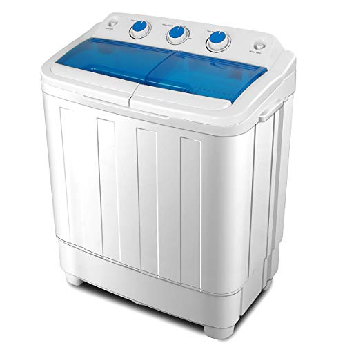 KUPPET Portable Washing Machine, Compact Twin Tub Washer and Spin Dryer Combo for Apartment, Dorms, RVs, Camping and More, White&Blue, 17Ibs