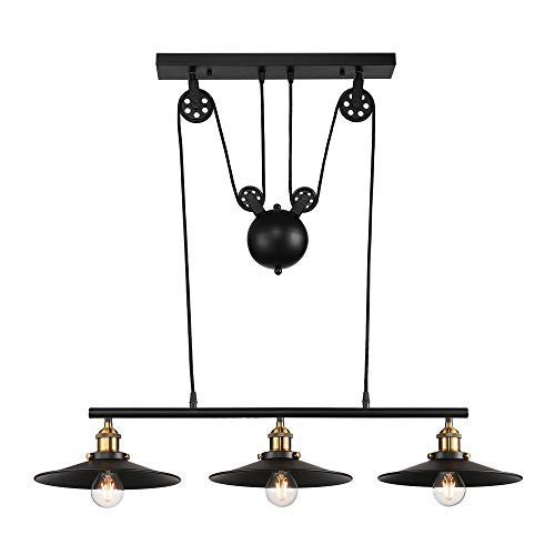 "Industrial Vintage Linear Chandelier – LITFAD 35"" Wide Edison Metal Hanging Ceiling Light Gorgeous Pendant Retro Light Island Light Fixture Black Finish with 3 Lights for Kitchen Dining Room Bedroom"